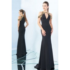 Fitted V Neck Black Satin Gold Beaded Formal Occasion Evening Dress