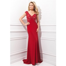 Fitted V Neck Cap Sleeve Long Red Jersey Lace Beaded Evening Prom Dress