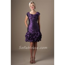 Flirty Sheath Cap Sleeve Short Purple Taffeta Ruched Party Prom Dress