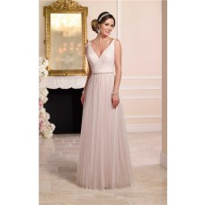 Flowing A Line Deep V Neck Low Back Blush Pink Tulle Wedding Dress