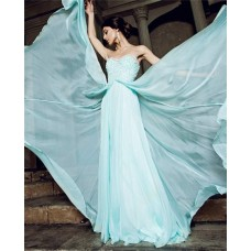 Flowing A Line Strapless Sweetheart Long Aqua Chiffon Beading Prom Dress