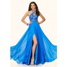 Flowing Halter Cut Out Long Blue Chiffon Beaded Prom Dress With Slit