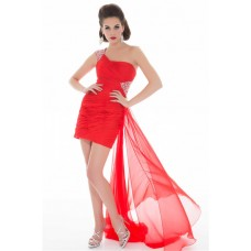 Flowing One Shoulder Short/ Mini Red Chiffon Homecoming Prom Dress With Train
