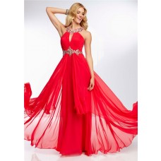 Flowing Sexy Split Front Low Back Long Red Chiffon Beading Prom Dress With Straps