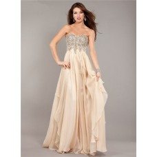 Flowing Strapless Empire Waist Long Champagne Chiffon Beaded Prom Dress