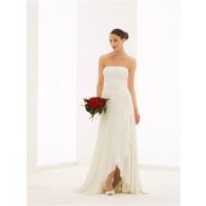 Flowing Strapless High Low Chiffon Beaded Destination Beach Wedding Dress