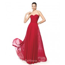 Flowing Strapless Sweetheart Red Chiffon Pleated Long Prom Dress