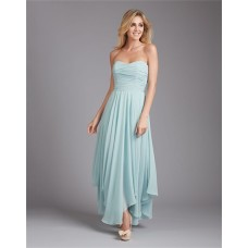 Flowing Sweetheart Long Light Blue Chiffon Ruched Wedding Guest Bridesmaid Dress