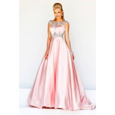 Formal A Line Princess Bateau Neck V Back Long Pink Satin Beaded Evening Prom Dress