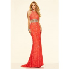 Formal High Neck Open Back Long Coral Lace Beaded Evening Prom Dress