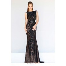 Formal Sheath Bateau Neck Backless Long Black Lace Beaded Evening Prom Dress With Belt