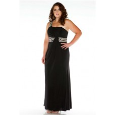 Formal Sheath One Shoulder Long Black Jersey Beaded Plus Size Evening Prom Dress