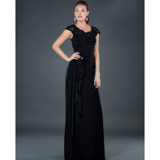 Formal modest sheath long black chiffon evening dress with lace beaded