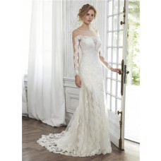 Glamour Mermaid Illusion Neckline V Back Long Sleeve Tulle Lace Wedding Dress