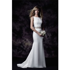Glamour Sheath Bateau Neckline Satin Wedding Dress With Crystals Sash