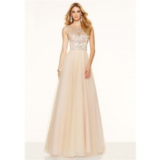 Gorgeous A Line Bateau Neck Open Back Long Champagne Tulle Beaded Prom Dress