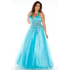 Gorgeous A Line Halter Long Aqua Blue Tulle Unique Beading Plus Size Prom Dress
