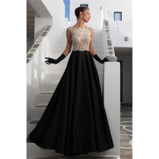 Gorgeous A Line Sleeveless Black Satin Tulle Beaded See Through Prom Dress