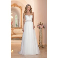 Gorgeous A Line Strapless Chiffon Crystal Beaded Wedding Dress Court Train