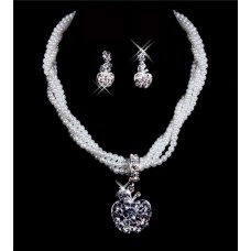 Gorgeous Alloy Pearls bridal wedding Jewelry Set Including Necklace,Earrings