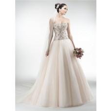 Gorgeous Ball Gown Strapless Drop Waist Organza Heavy Beaded Crystal Wedding Dress