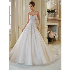 Gorgeous Ball Gown Strapless Sweetheart Applique Beaded Crystal Wedding Dress Lace Up Back