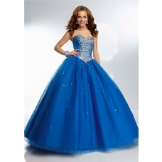 Gorgeous Ball Gown Sweetheart Corset Back Royal Blue Tulle Beaded Prom Dress