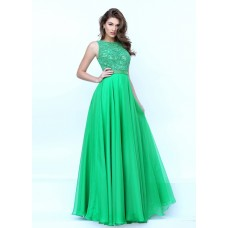 Gorgeous High Neck Keyhole Open Back Long Green Chiffon Beaded Prom Dress