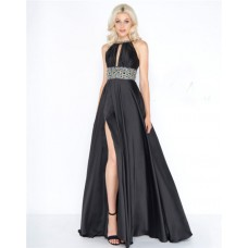 Gorgeous Jewel Neckline Keyhole Front Black Charmeuse Beaded Prom Dress With Belt