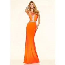Gorgeous Mermaid Long Orange Beaded Evening Prom Dress With Spaghetti Straps