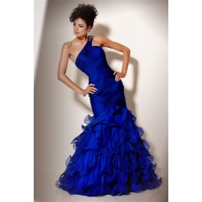 Gorgeous Mermaid One Shoulder Long Royal Blue Chiffon Ruffle Evening Prom Dress