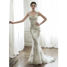 Gorgeous Mermaid Queen Anne Neckline Backless Applique Crystal Wedding Dress
