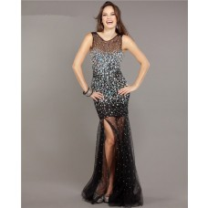 Gorgeous Mermaid Scoop Neck Backless Black Tulle Beaded Prom Dress