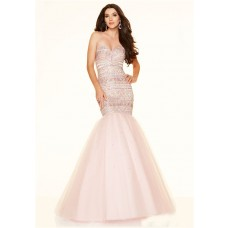 Gorgeous Mermaid Strapless Corset Light Pink Satin Tulle Beaded Prom Dress