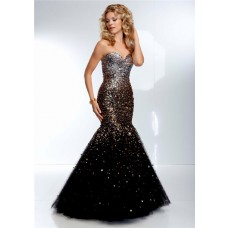 Gorgeous Mermaid Strapless Long Black Tulle Gold Ombre Beaded Prom Dress Corset Back