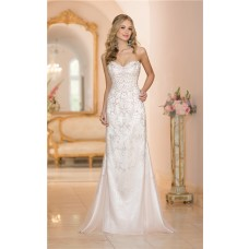 Gorgeous Mermaid Sweetheart Low Back Satin Tulle Crystal Beaded Wedding Dress