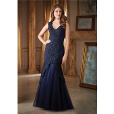 Gorgeous Mermaid V Neck Navy Blue Tulle Lace Beaded Formal Occasion Evening Dress