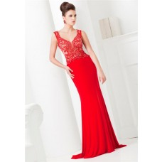 Gorgeous Scoop Neck Illusion Back Red Jersey Tulle Beaded Long Evening Prom Dress