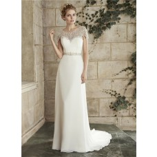 Gorgeous Sheath Bateau Neck Illusion Back Chiffon Crystal Wedding Dress Cap Sleeves