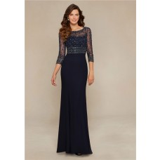 Gorgeous Sheath Boat Neck Navy Blue Chiffon Beaded Evening Dress Three Quarter Sleeves