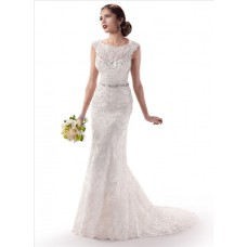 Gorgeous Sheath Illusion Bateau Neck Lace Wedding Dress With Crystal Buttons