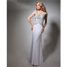 Gorgeous Sheath V Neck Cap Sleeve Long White Chiffon Beaded Prom Dress Open Back