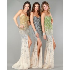 Gorgeous Strapless High Slit Champagne Chiffon Gold Silver Ombre Beaded Prom Dress