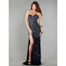 Gorgeous Strapless High Slit Long Black Tulle Colorful Beaded Prom Dress