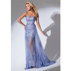 Gorgeous Sweetheart Neckline Long Lavender Lace Prom Dress With Belt