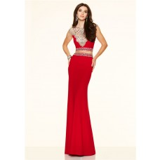 Gorgeous Two Piece Cap Sleeve Open Back See Through Tulle Red Jersey Beaded Prom Dress
