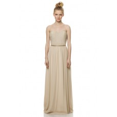 Graceful A Line Strapless Long Champagne Chiffon Ruched Special Occasion Bridesmaid Dress