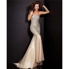 Graceful Mermaid Strapless Champagne Tulle Heavy Beaded Prom Dress