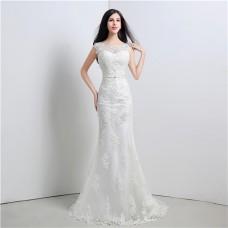 Graceful Mermaid V Back Cap Sleeve Venice Lace Wedding Dress With Bow Sash