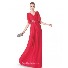 Graceful Sheath V Neck Red Chiffon Ruffle Beaded Long Evening Prom Dress